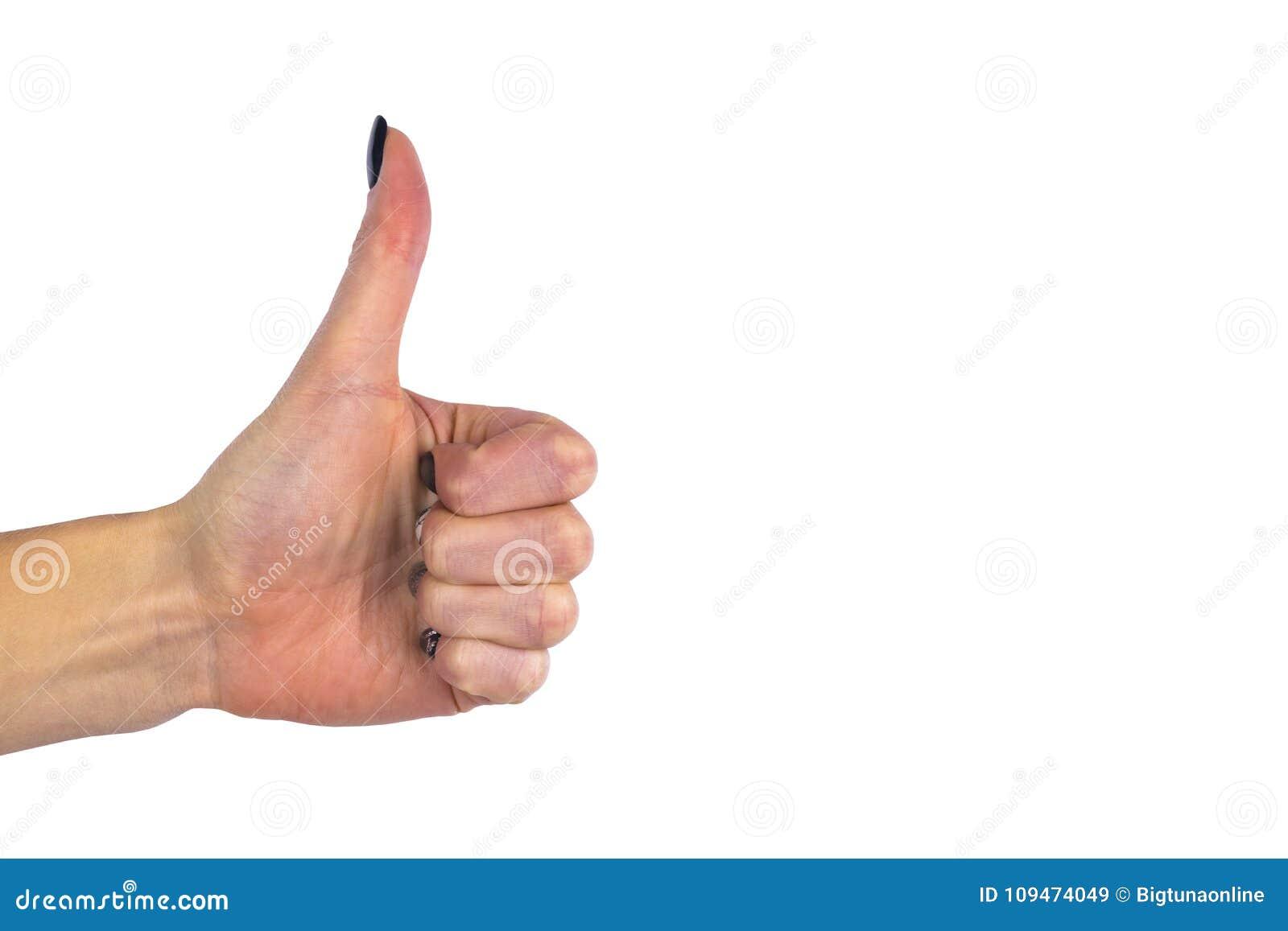 Weibliche Hand, die Daumen herauf O.K. alle rechte Sieghandzeichengeste zeigt Gesten und Zeichen Körpersprache lokalisiert auf we