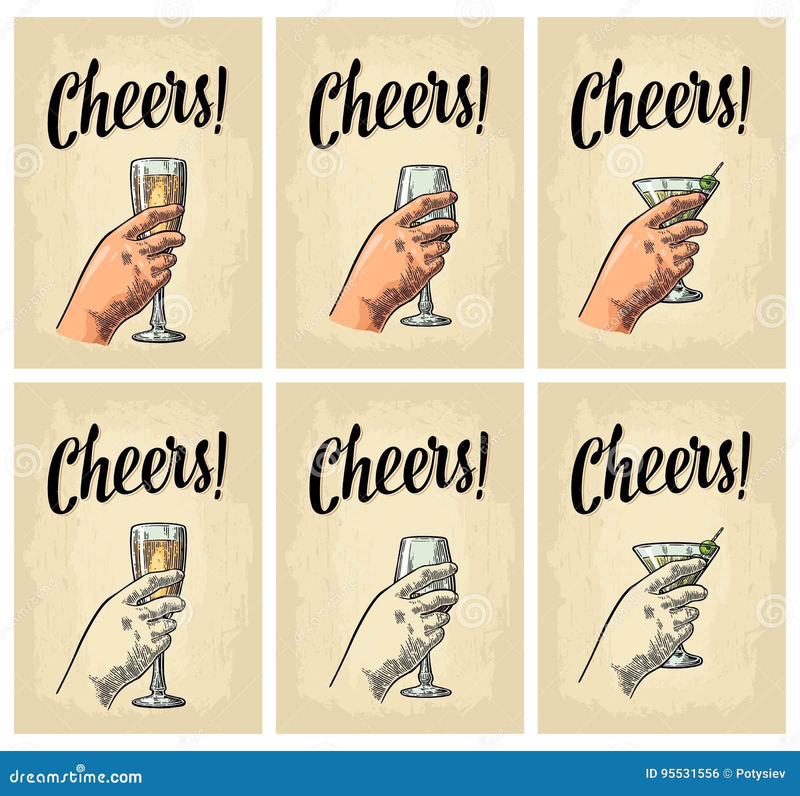Weibliche Hand Die Ein Glas Des Cocktails Wein Hält Vektor