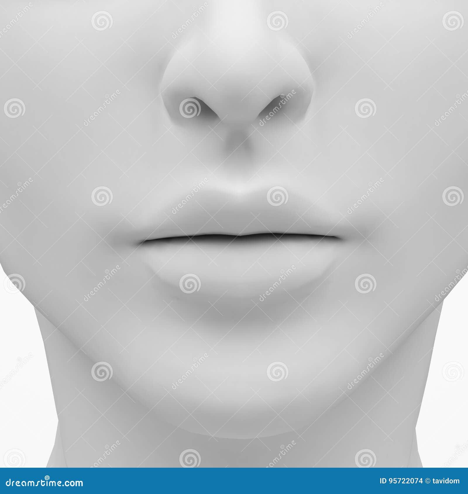Weibliche Lippen Und Nase Bild Der Wiedergabe 3d Stock Abbildung ...
