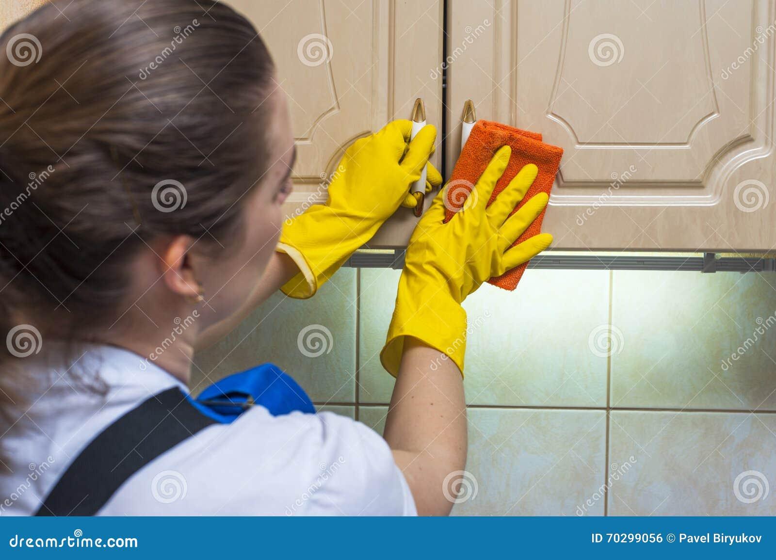 Weiblicher Hausmeister, Der Den Küchenschrank Mit Einem Lappen ...