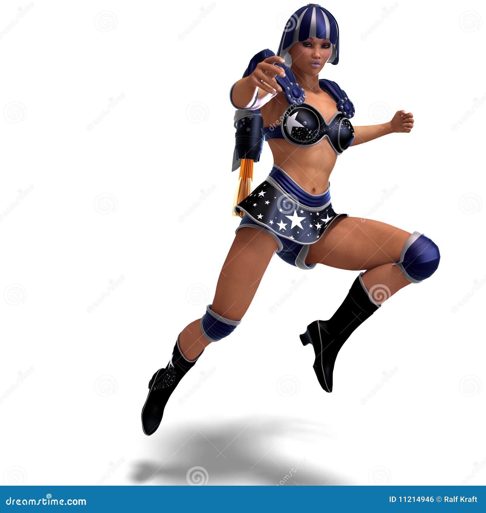 Weiblicher Superheld in der schwarzen und blauen Ausstattung