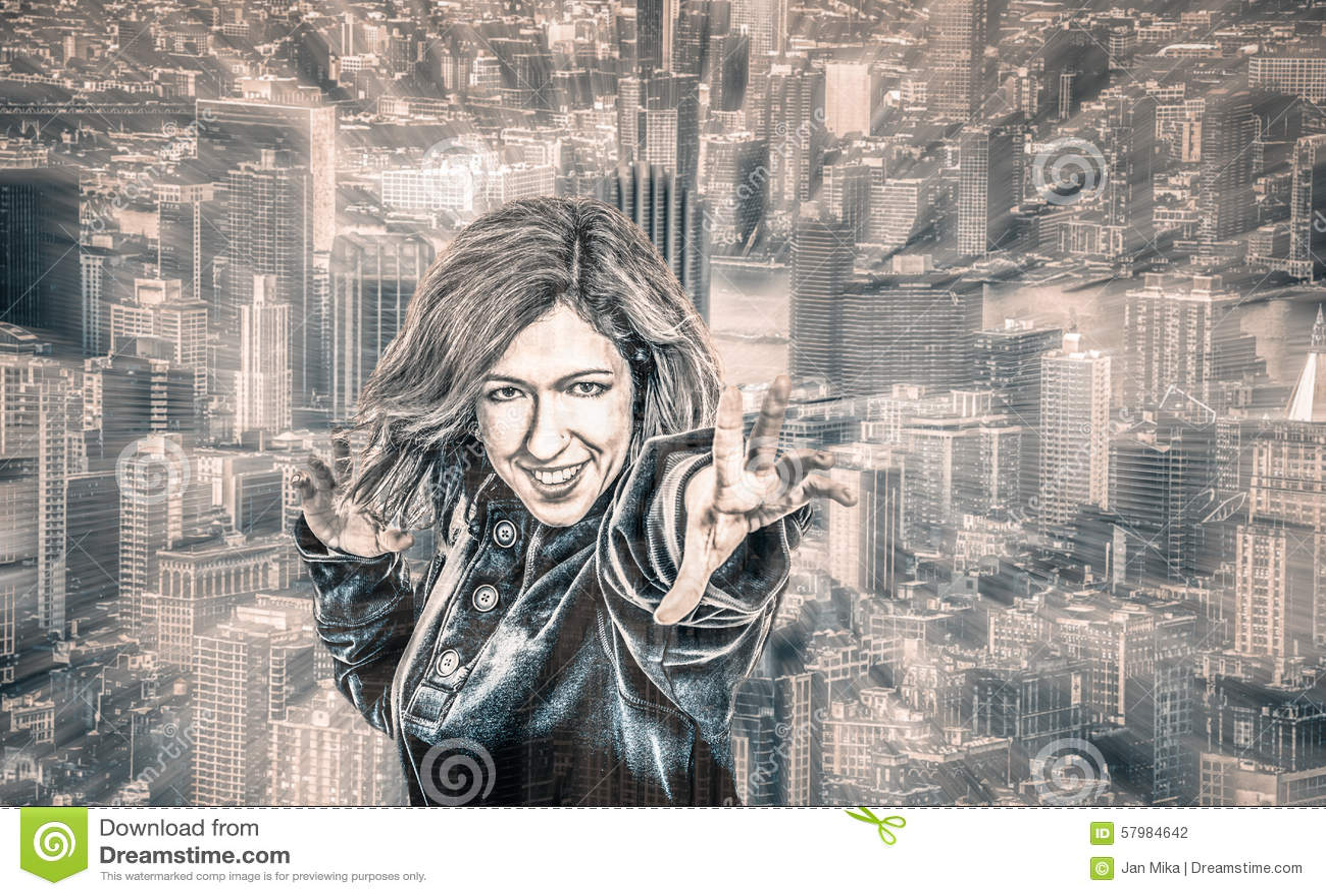 Weiblicher Superheld in der Stadt