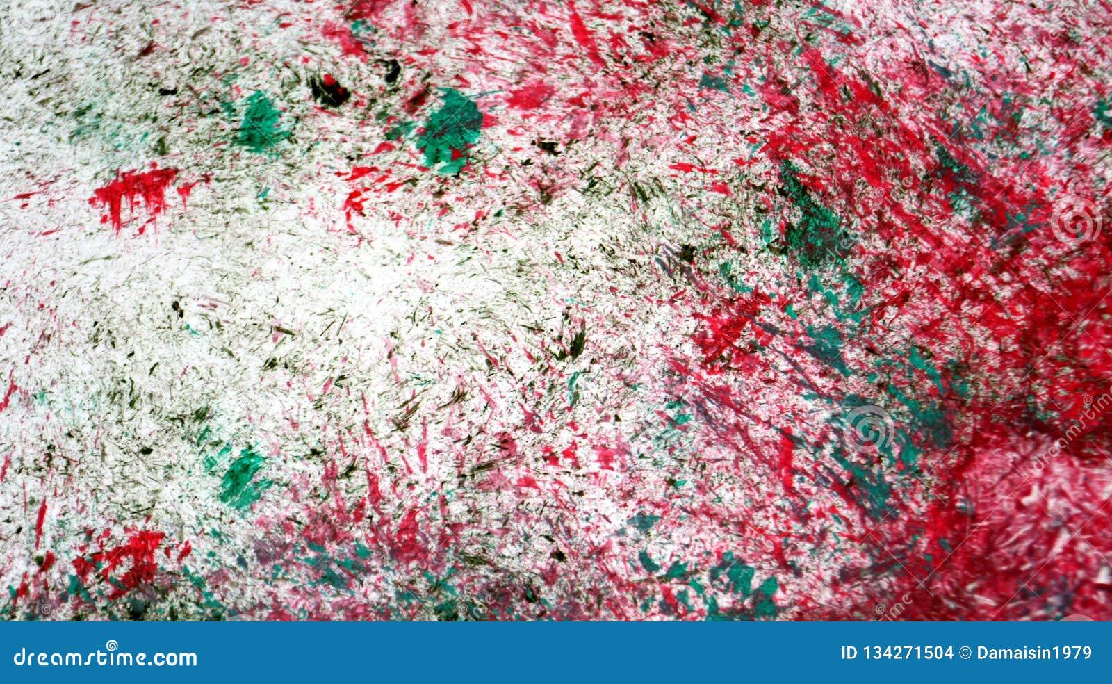 Weiche Kontraste der roten silbernen grünen Mischung, Farbenaquarellhintergrund, abstrakter malender Aquarellhintergrund