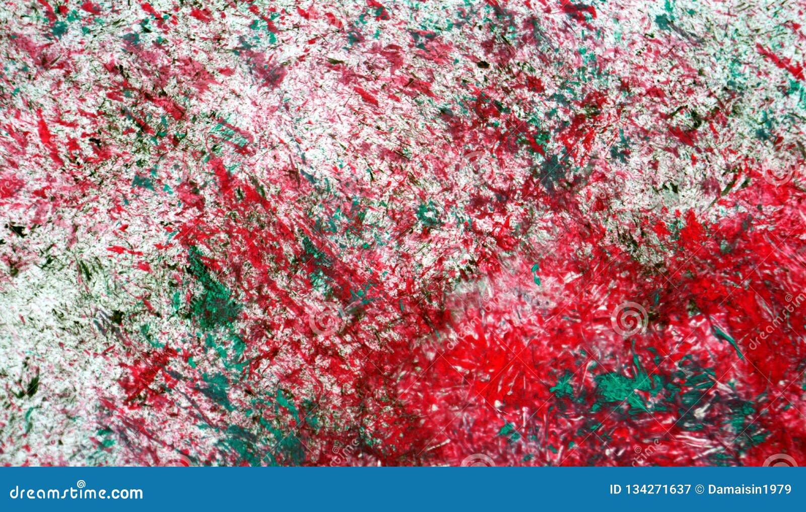 Weiche Kontraste der roten silbrigen grünen Mischung, Farbenaquarellhintergrund, abstrakter malender Aquarellhintergrund