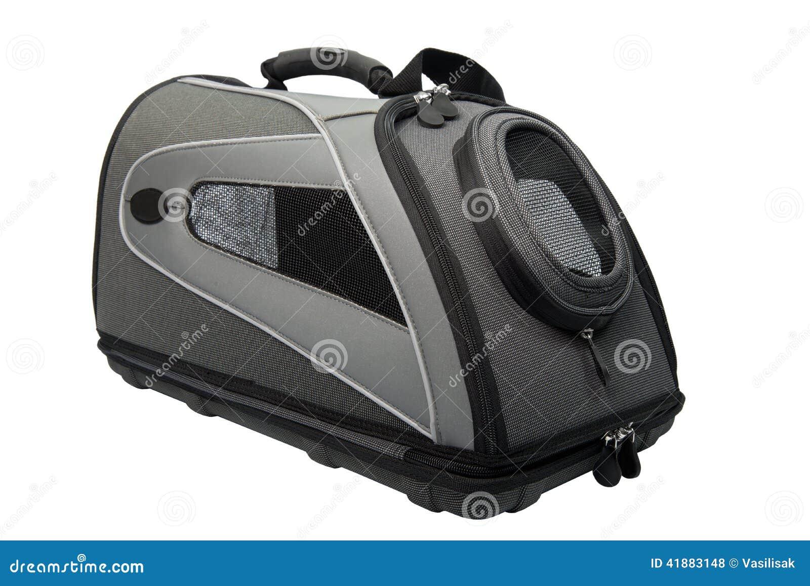 Weiche versah schwarz mit Seiten und graue Cat Carrier lokalisierte