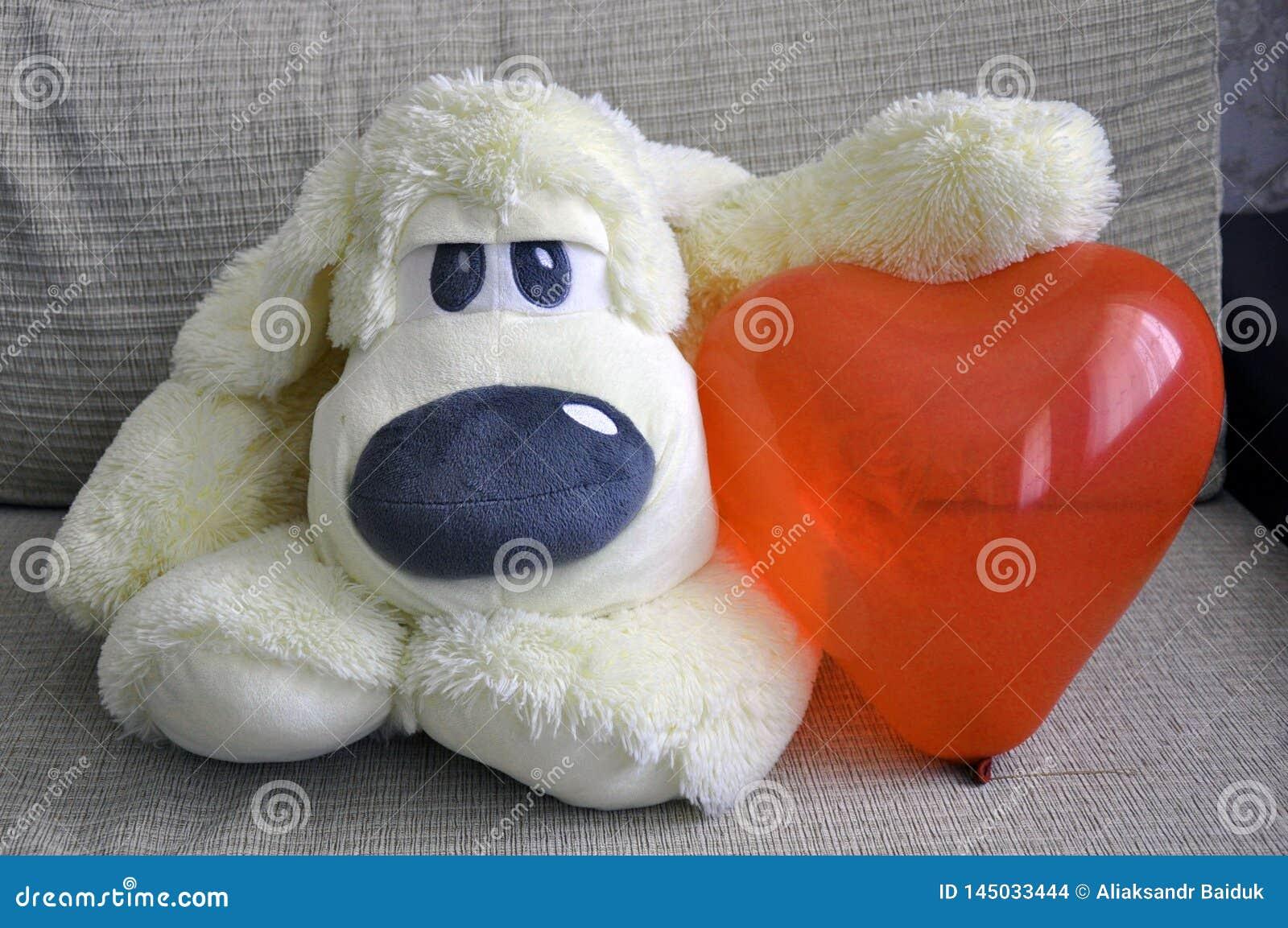 Weicher Spielzeughund haben sie ein Herz Liebe, Romance, Weichheit