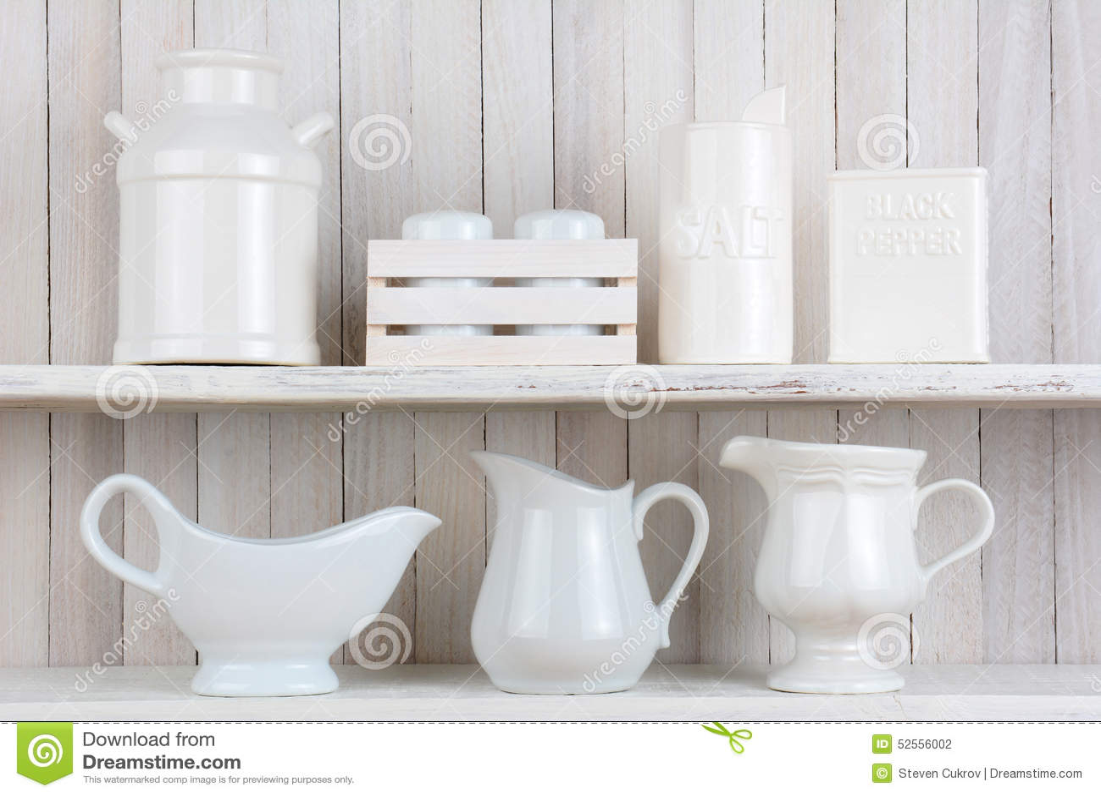 wei e rustikale k chen regale stockfoto bild 52556002. Black Bedroom Furniture Sets. Home Design Ideas