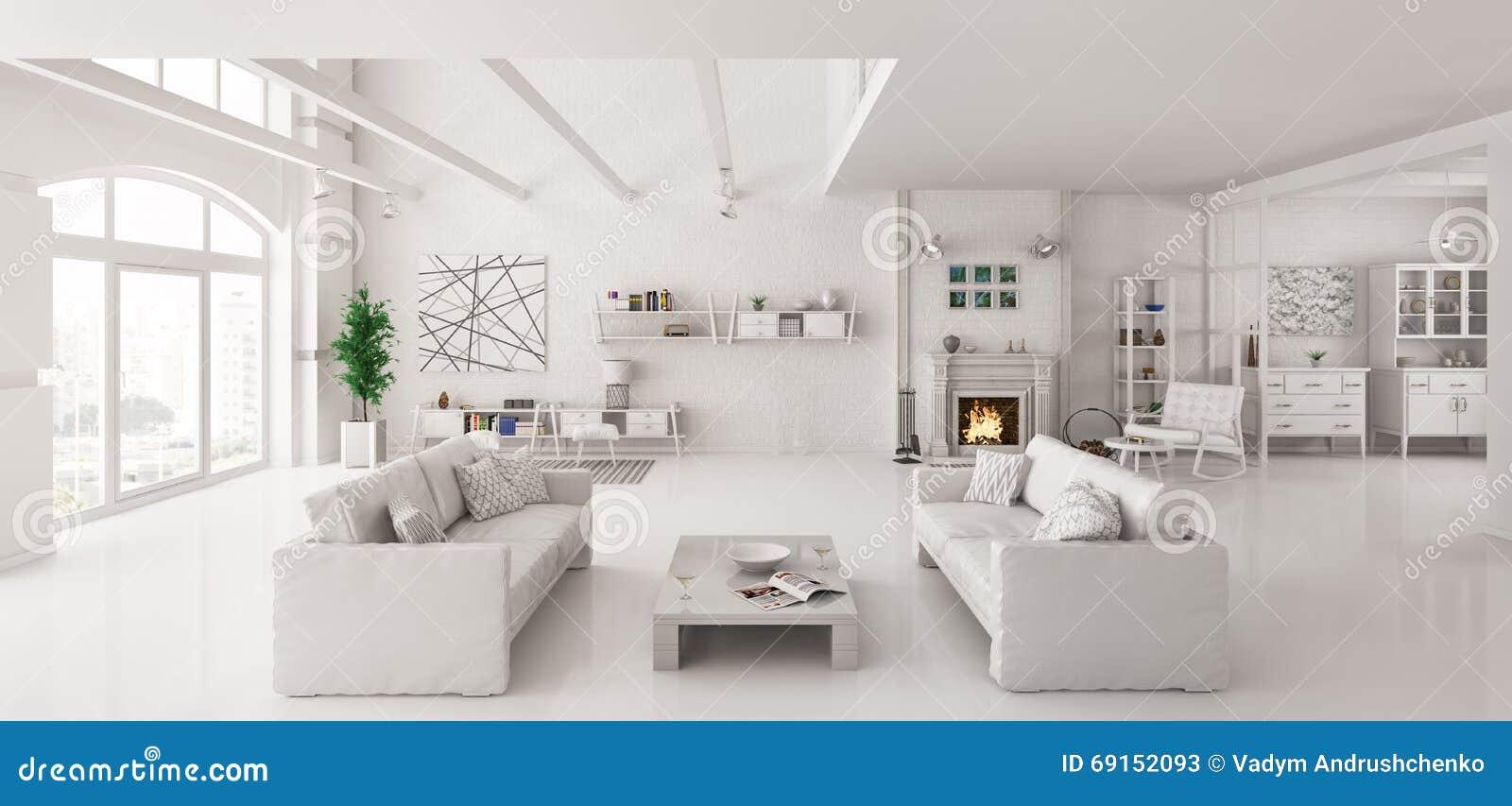 Wei e wohnung innen 3d bertragen stock abbildung bild for Arredare casa bianco e beige