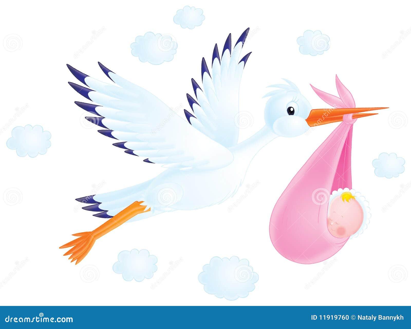 kleurplaat baby met ooievaar