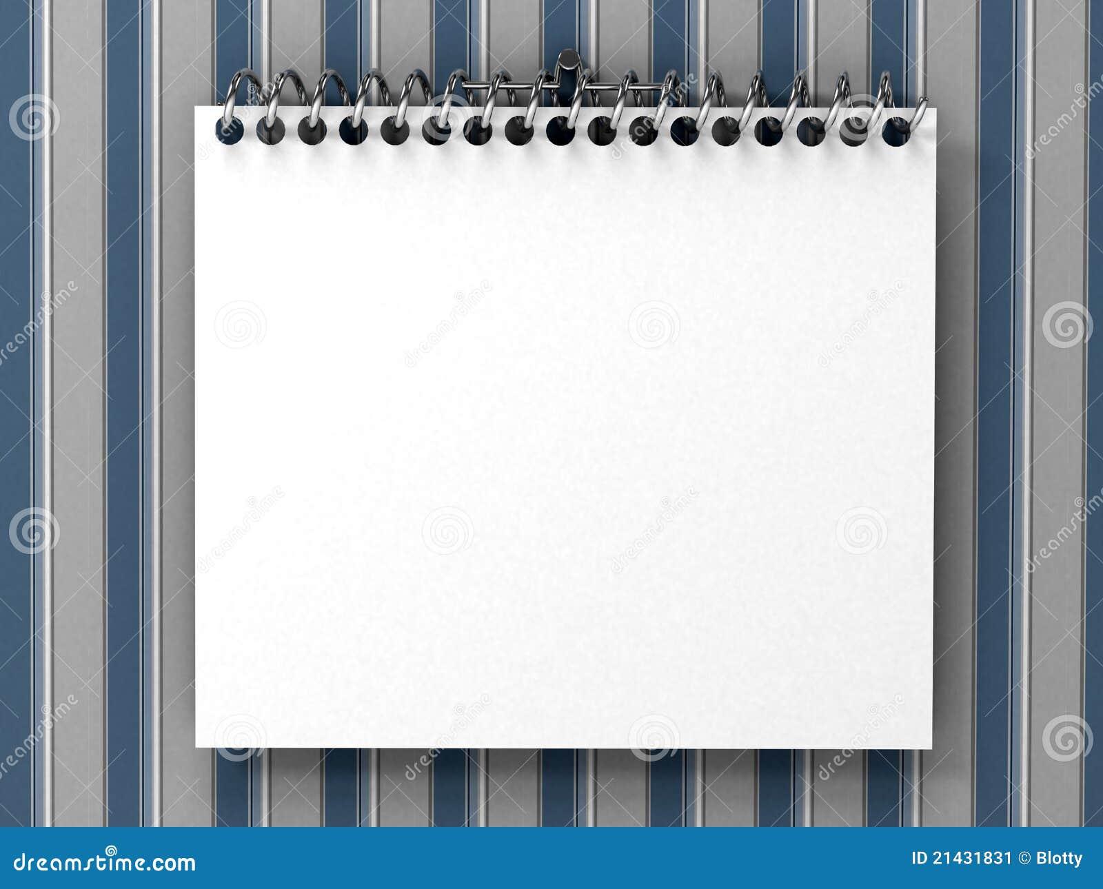 Weißer Unbelegter Notizblock über Gestreifter Tapete Stockbild ...