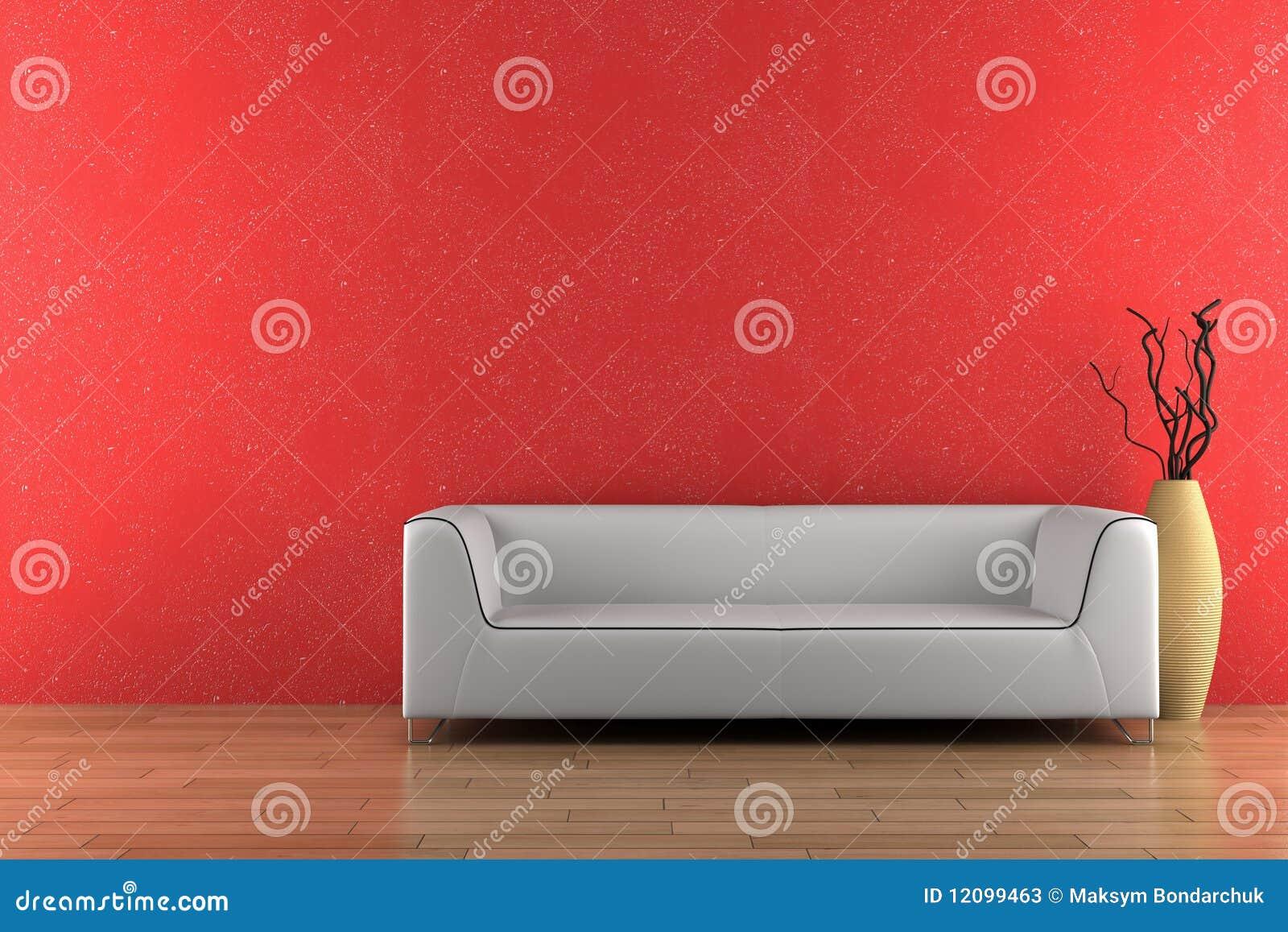 Weißes sofa und vase vor roter wand stockfotos   bild: 12099463