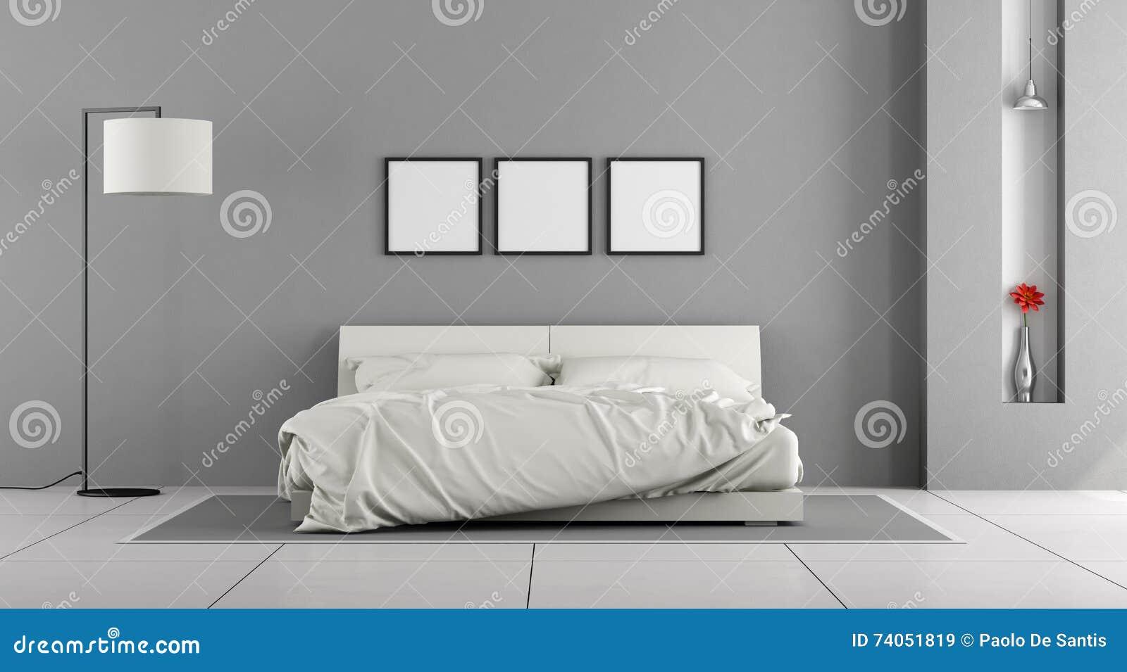 Weißes und graues schlafzimmer stock abbildung   bild: 74051819