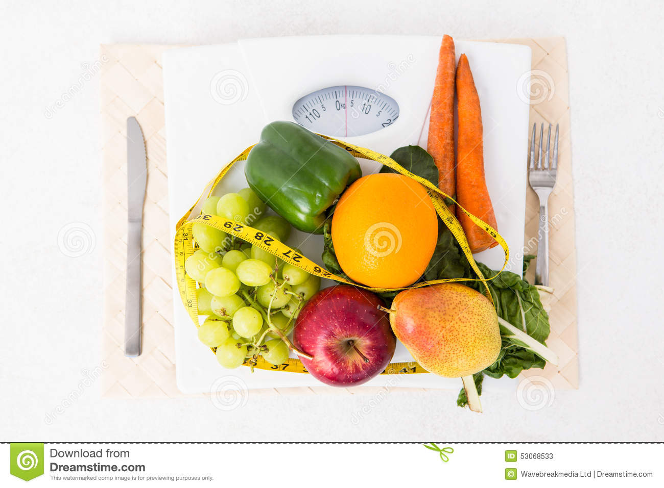 Weighing Scales With Fruits And Vegetables Stock Image ...