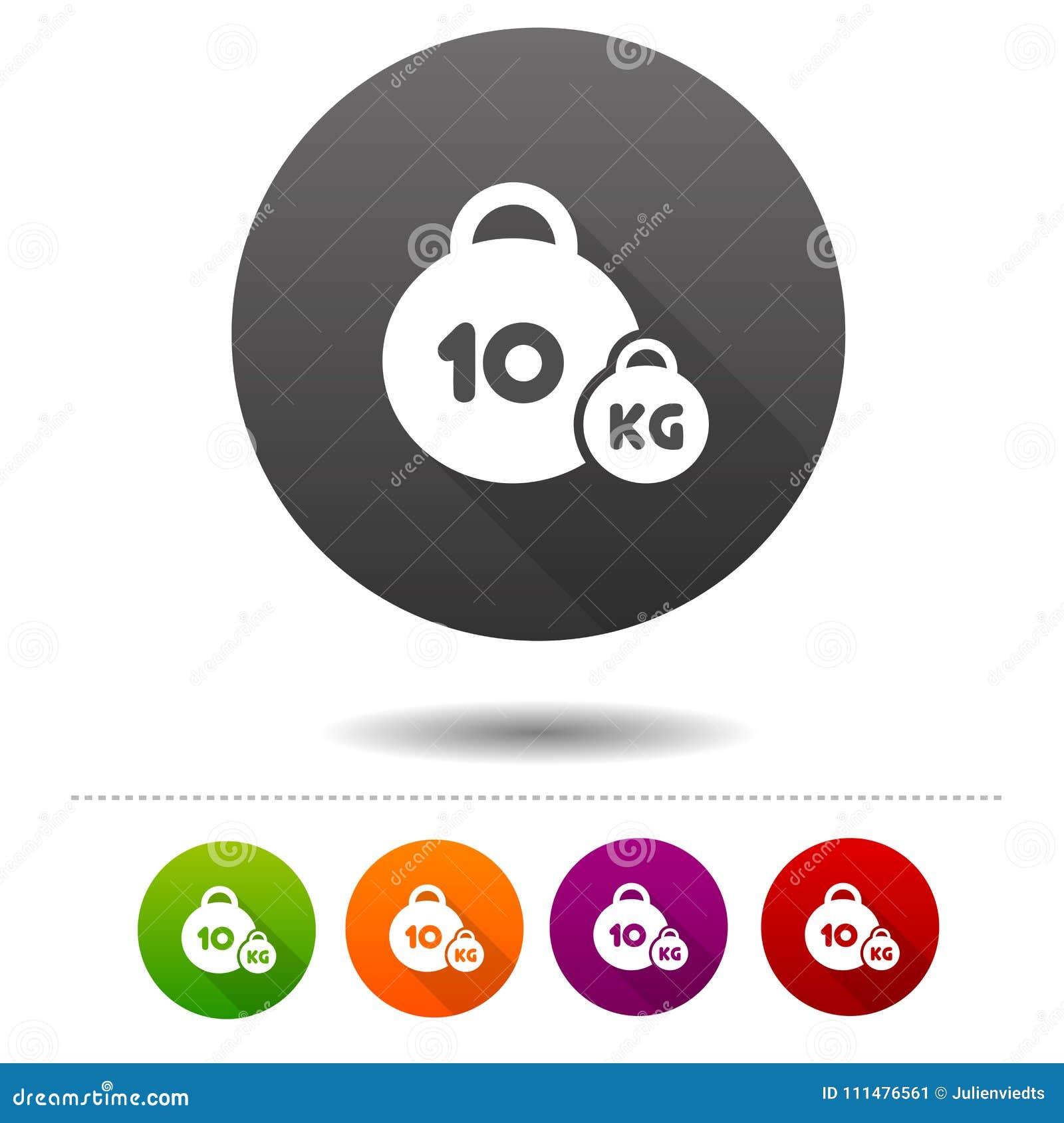 Weight Icon 10 Kilogram Sport Symbol Sign Web Button Stock Vector