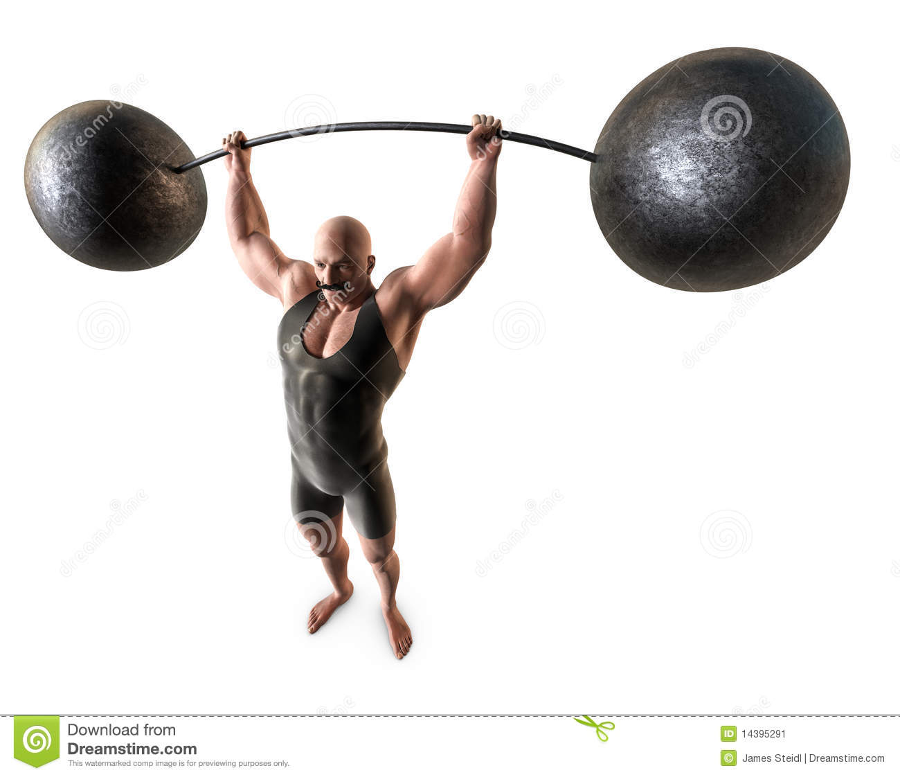 muscular man with a handlebar mustache and a body suit lifting a ...