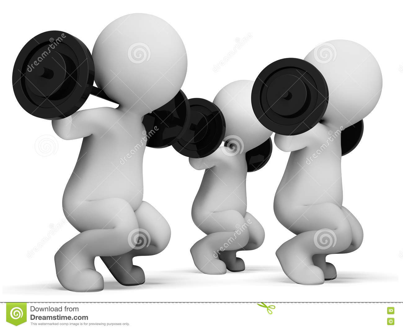 weight lifting shows fitness center and characters 3d rendering