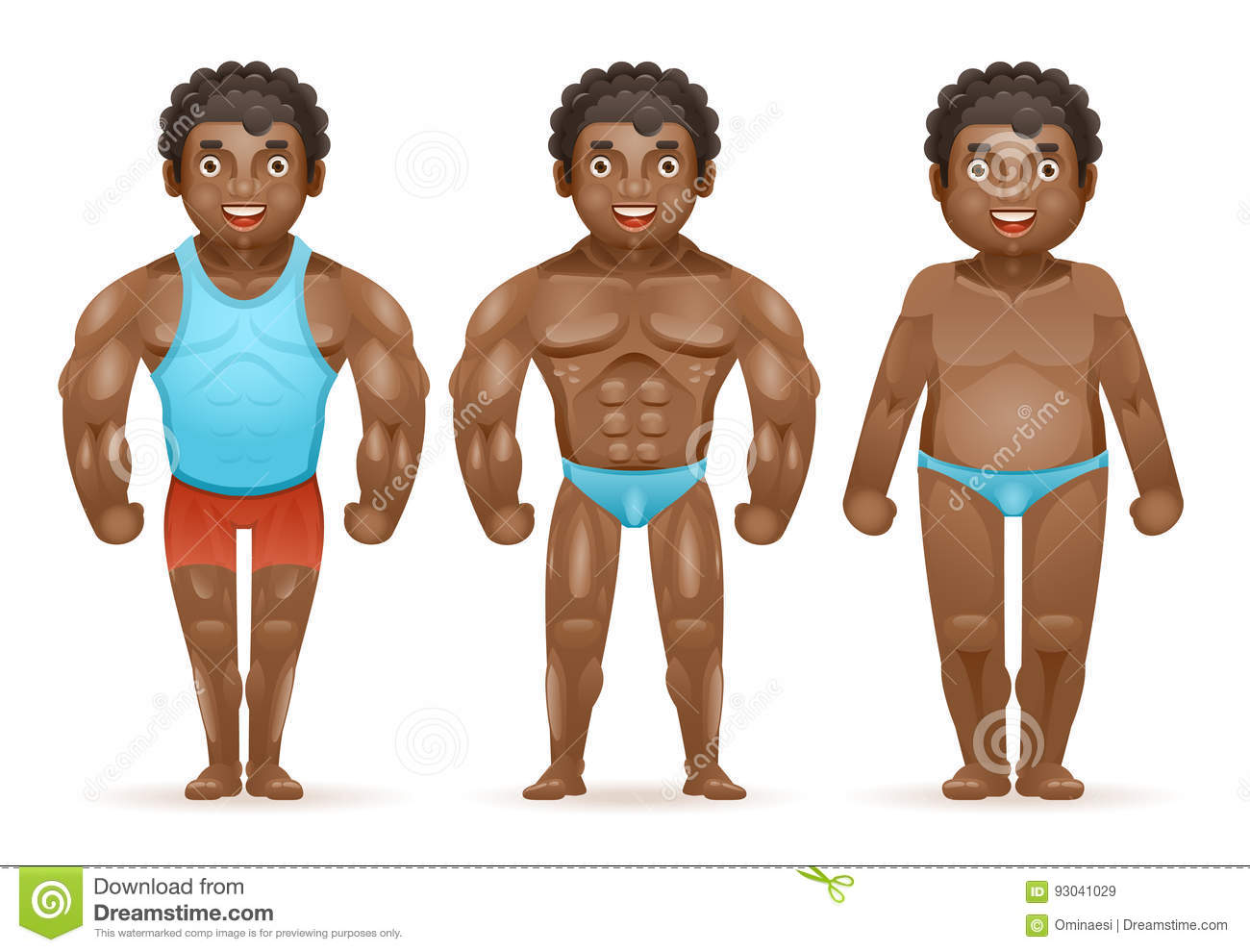 Weight loss afroamerican bodybuilder muscular fat man before after sports happy characters isolated 3d cartoon design