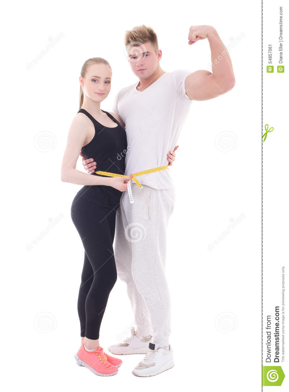 weight loss concept - young muscular man and slim woman with measure tape isolated on white
