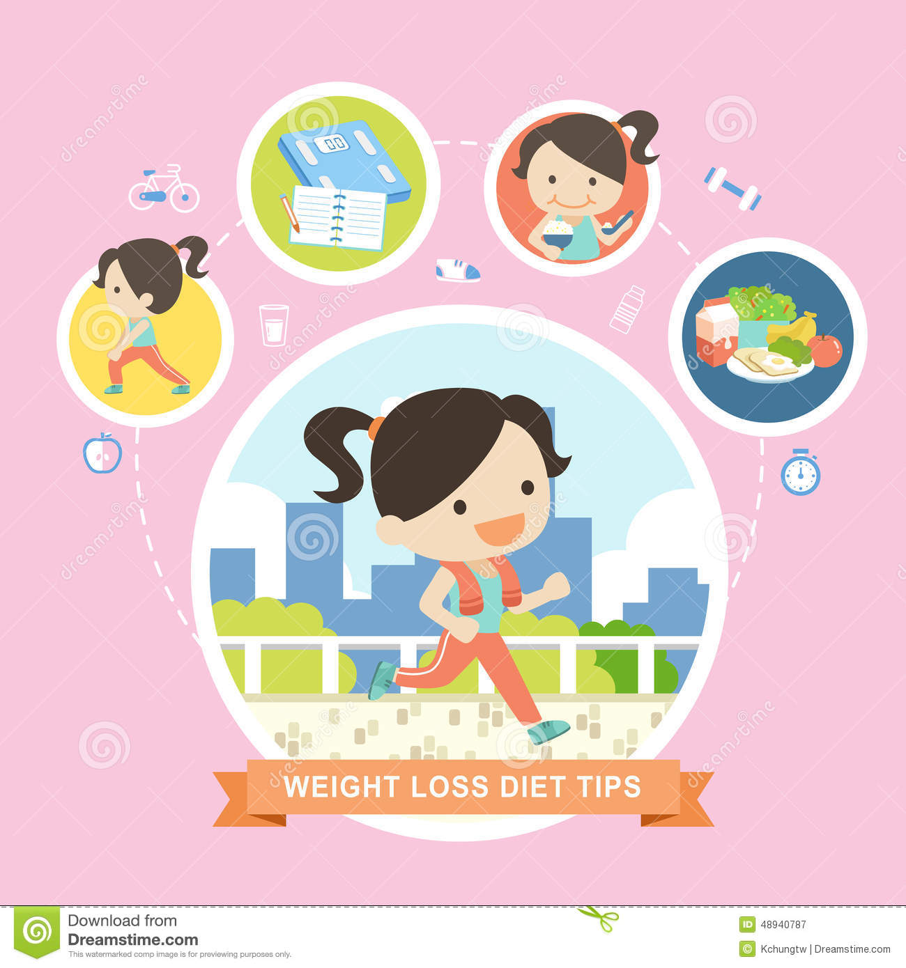 weight loss diet tips in flat design stock vector illustration of