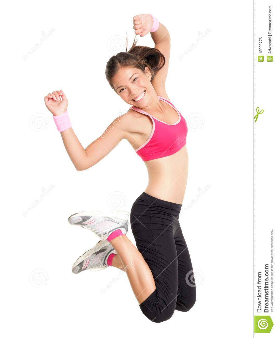 56a29e5e4a24f Weight Loss Fitness Woman Jumping Stock Photo - Image of multiracial ...