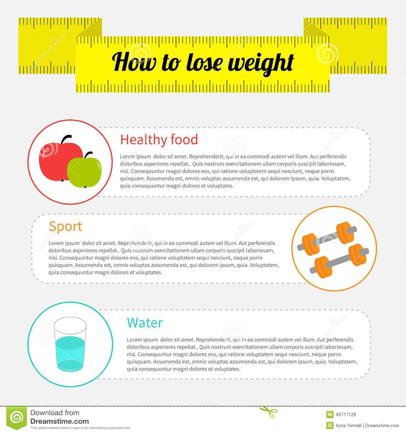 Weight loss infographic. Healthy food, sport fitness, drink water ...