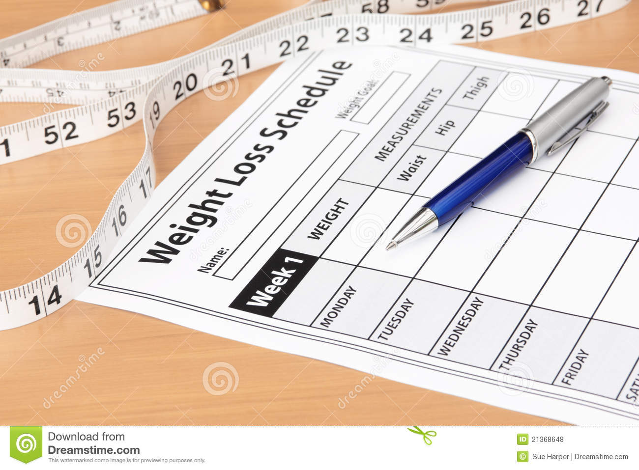 weight loss schedule with tape measure stock photo image of