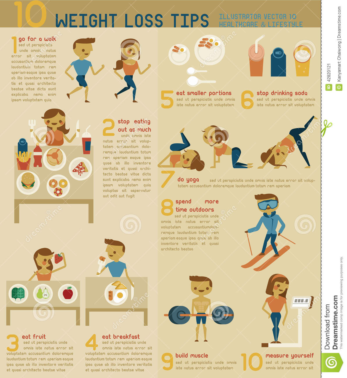 10 Weight Loss Tips Stock Vector - Image: 42820121