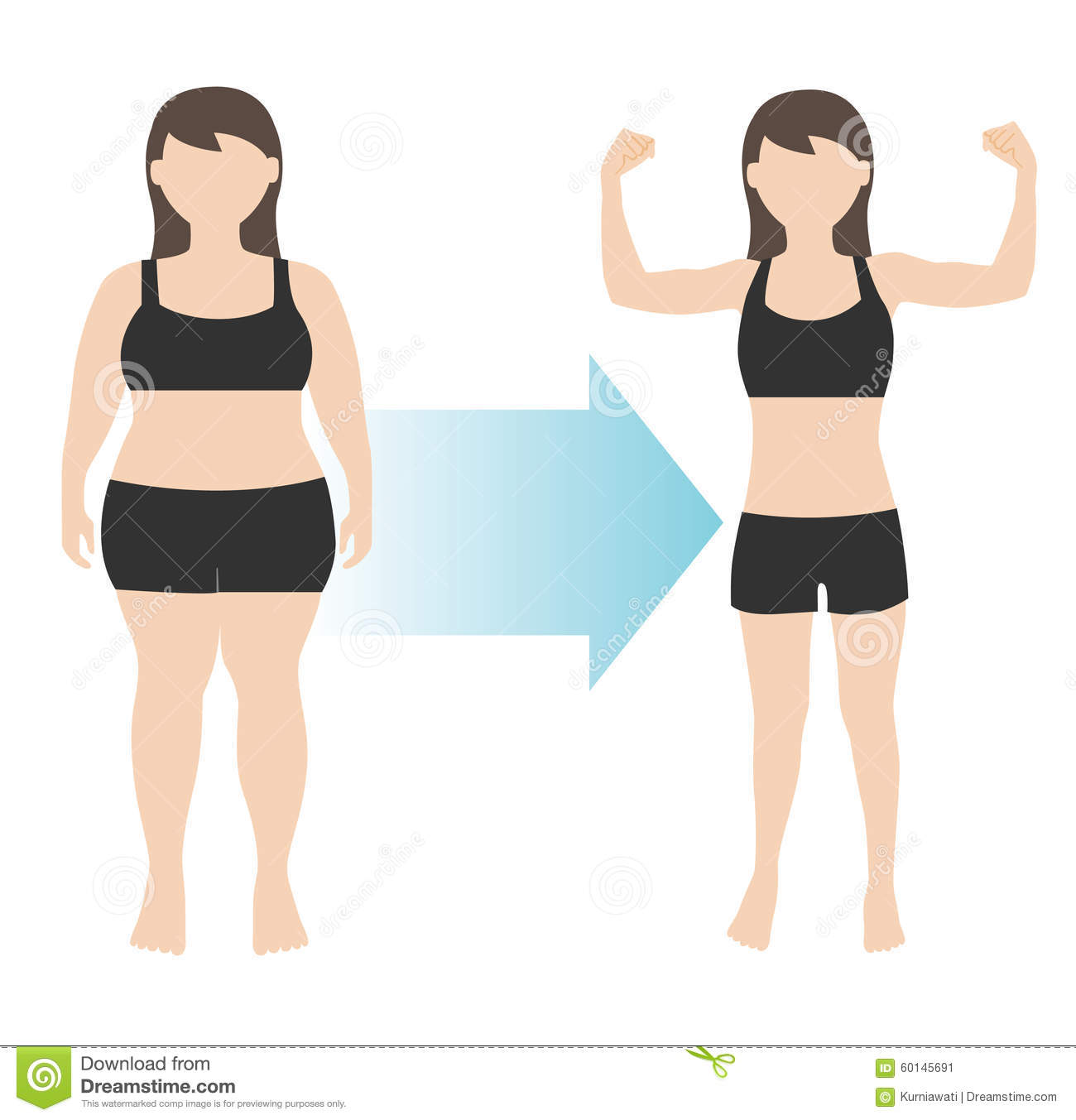 Weight Loss Woman Body Transformation Fat To Fit Stock Vector - Image ...