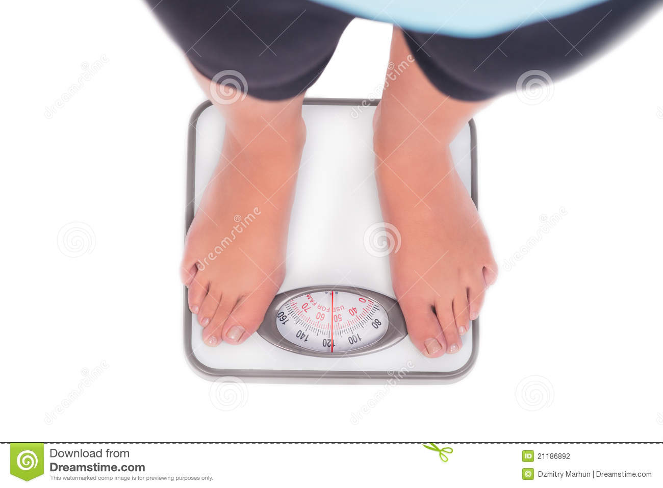 Weight scale and woman s feet on it