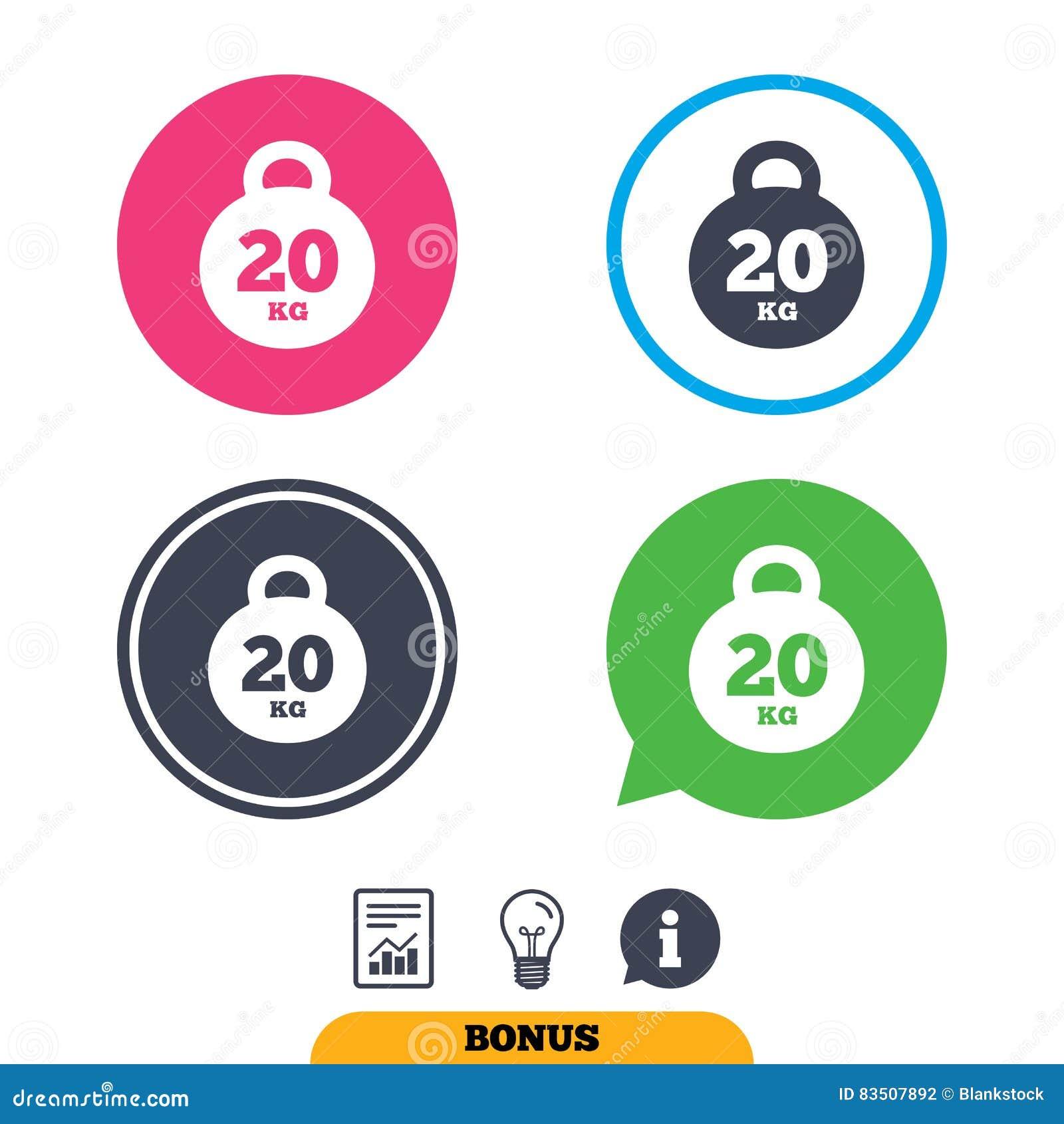 Weight Sign Icon 20 Kilogram Kg Sport Symbol Stock Vector
