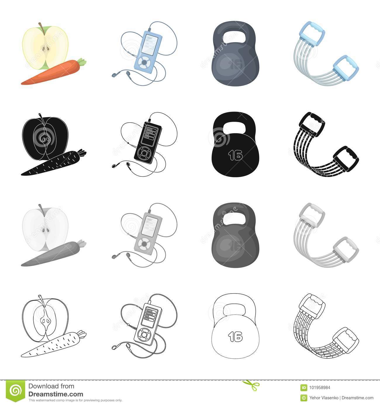 Weight training, apple and carrot, music player, expander. Training and gym set collection icons in cartoon black