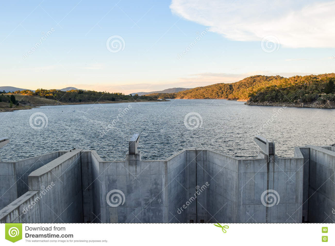 Weighted flood gates on Jindabyne Dam, confining the Snowy River