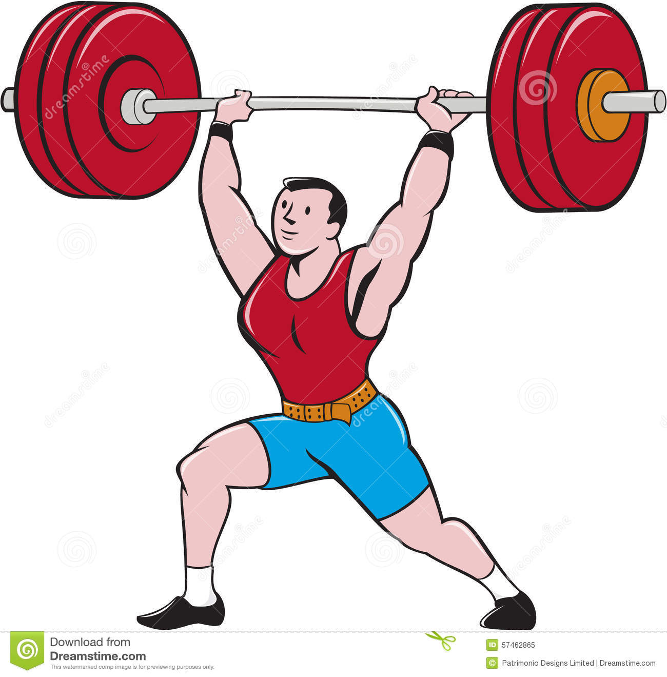 Illustration of a weightlifter lifting barbell weights set on isolated ...