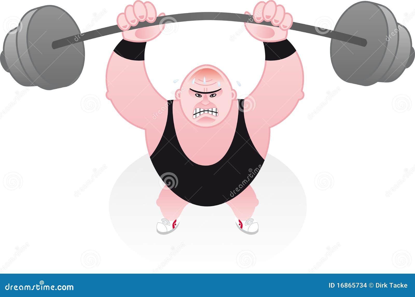 Weightlifter que estica sob seus pesos
