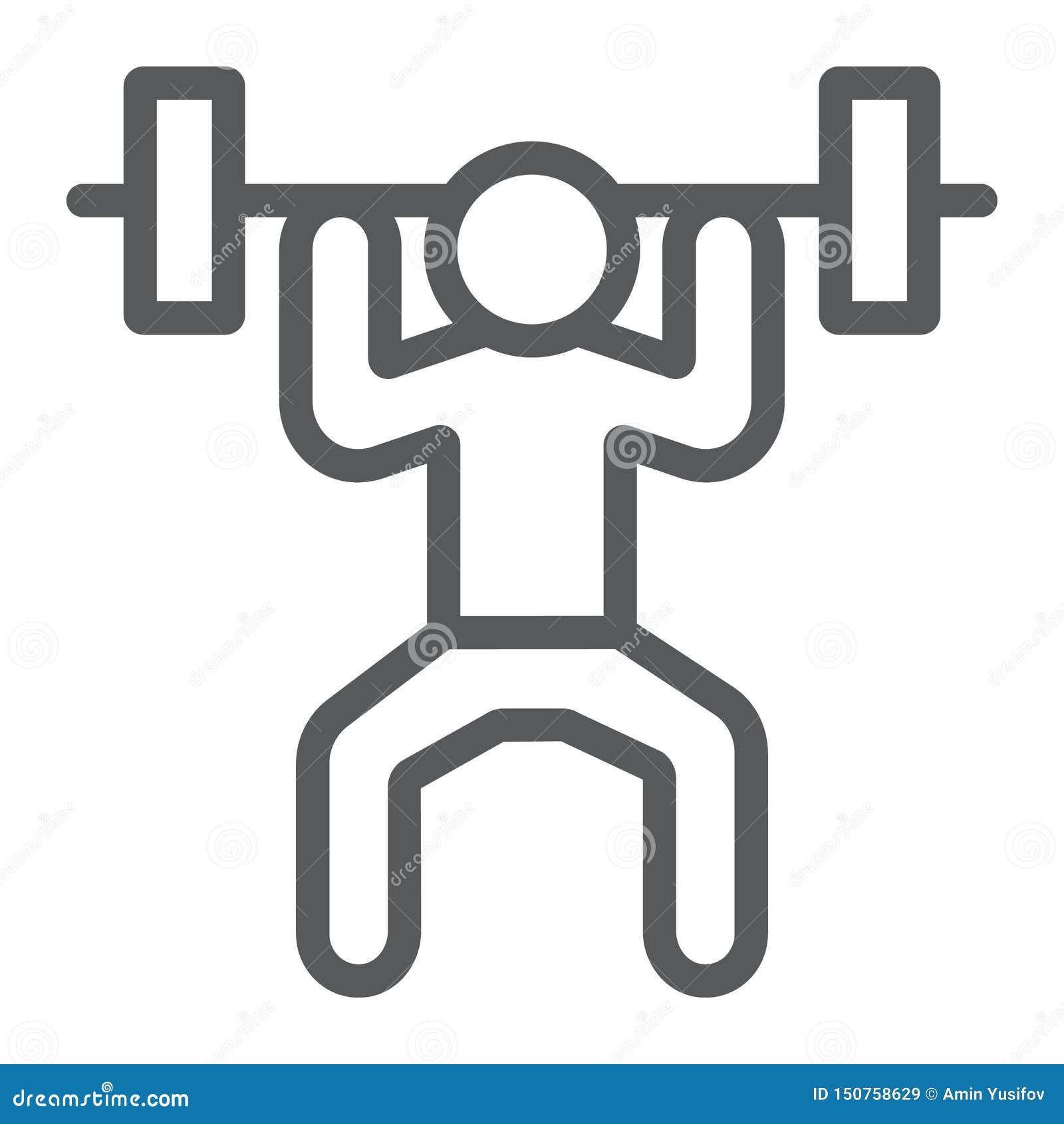 Weightlifterlinie Ikone, Sport und Bodybuilding, Gewichthebenzeichen, Vektorgrafik, ein lineares Muster auf einem weißen