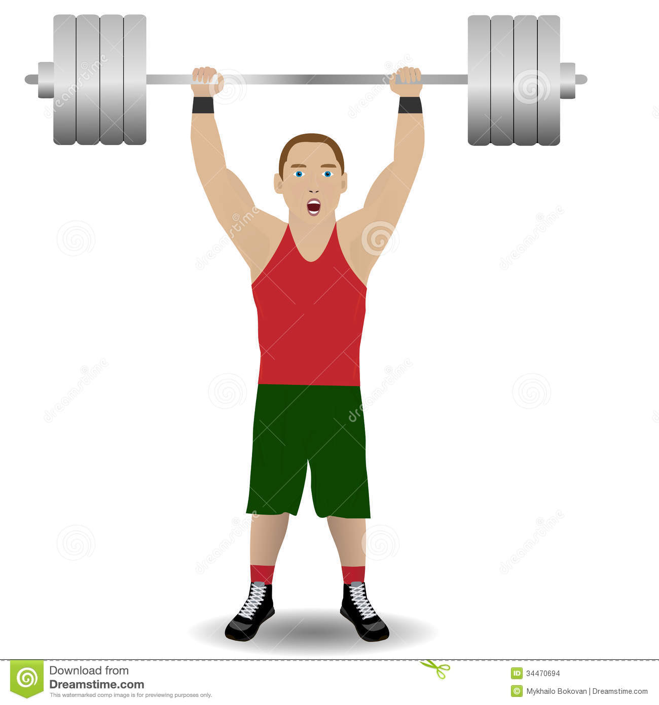 Illustration of weight-lifter on the white background.