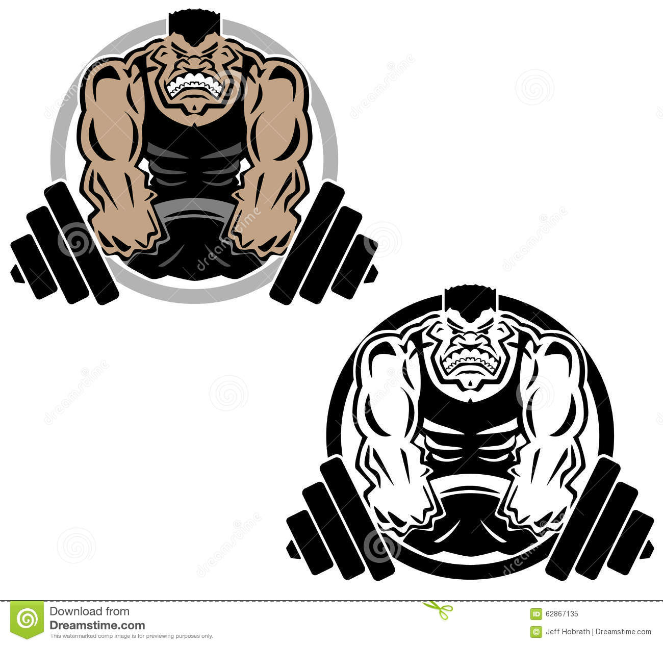Sharp clean illustration of man lifting heavy weights, bent barbell ...
