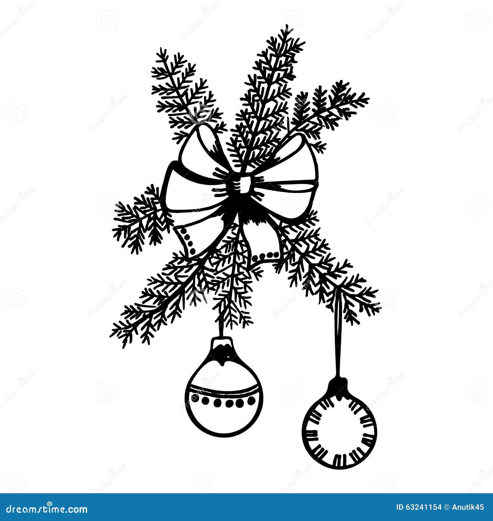Weihnachten, Ball, Dekoration, Neues Jahr, Vektor, Skizze Vektor ...