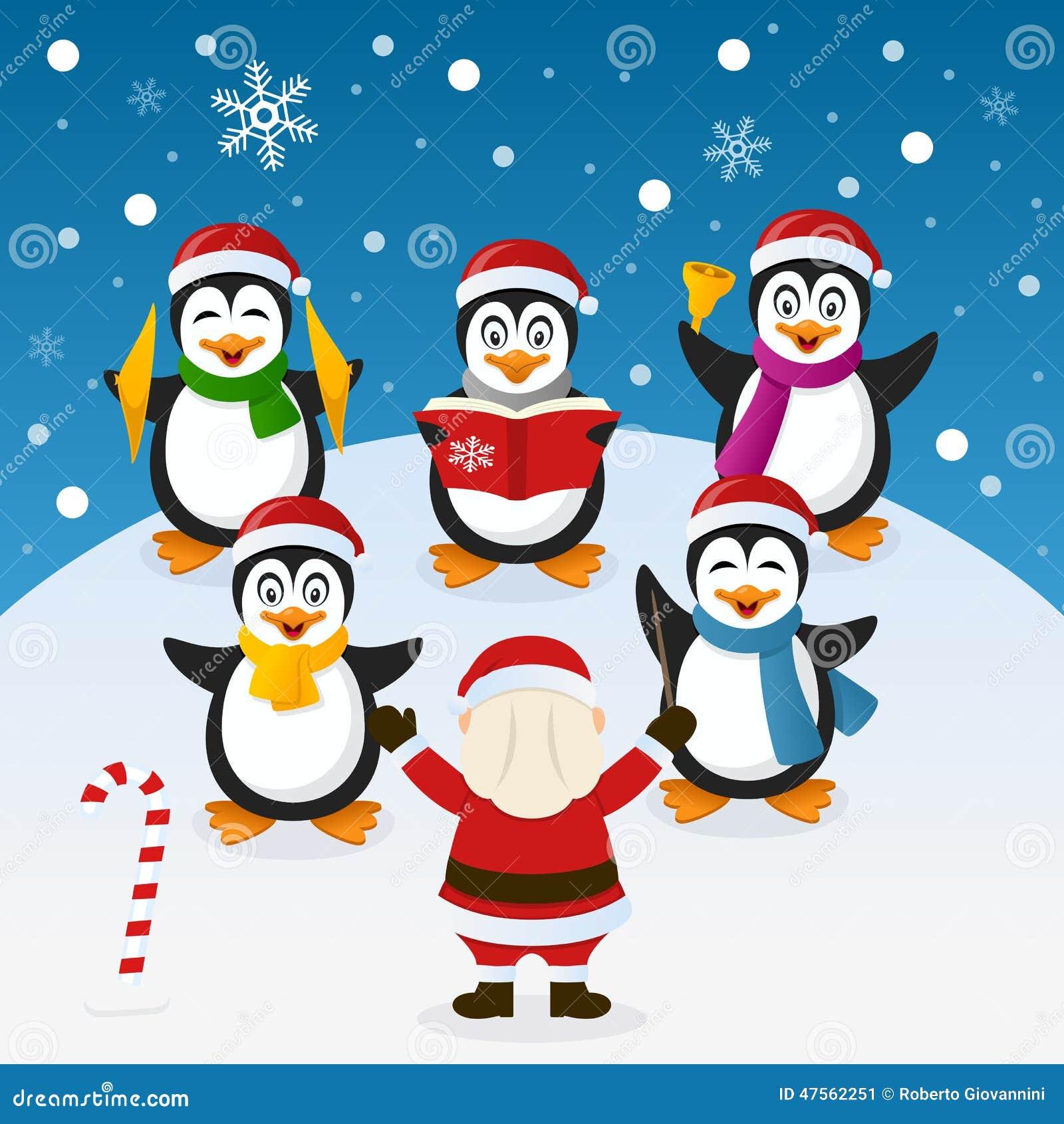 Weihnachten Carol Mit Pinguin-Orchester Vektor Abbildung ...