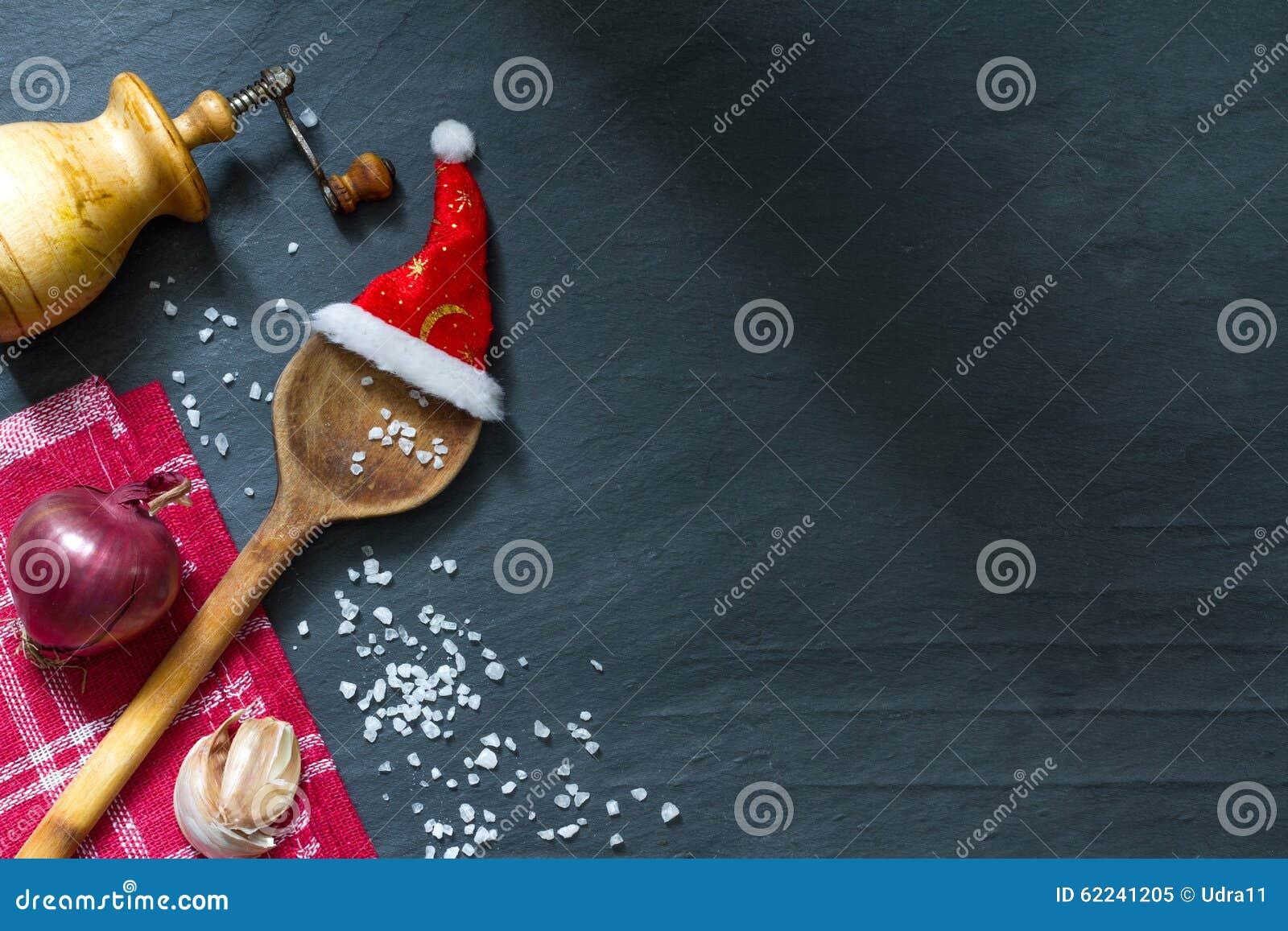 Weihnachten, das abstrakten Lebensmittelhintergrund kocht