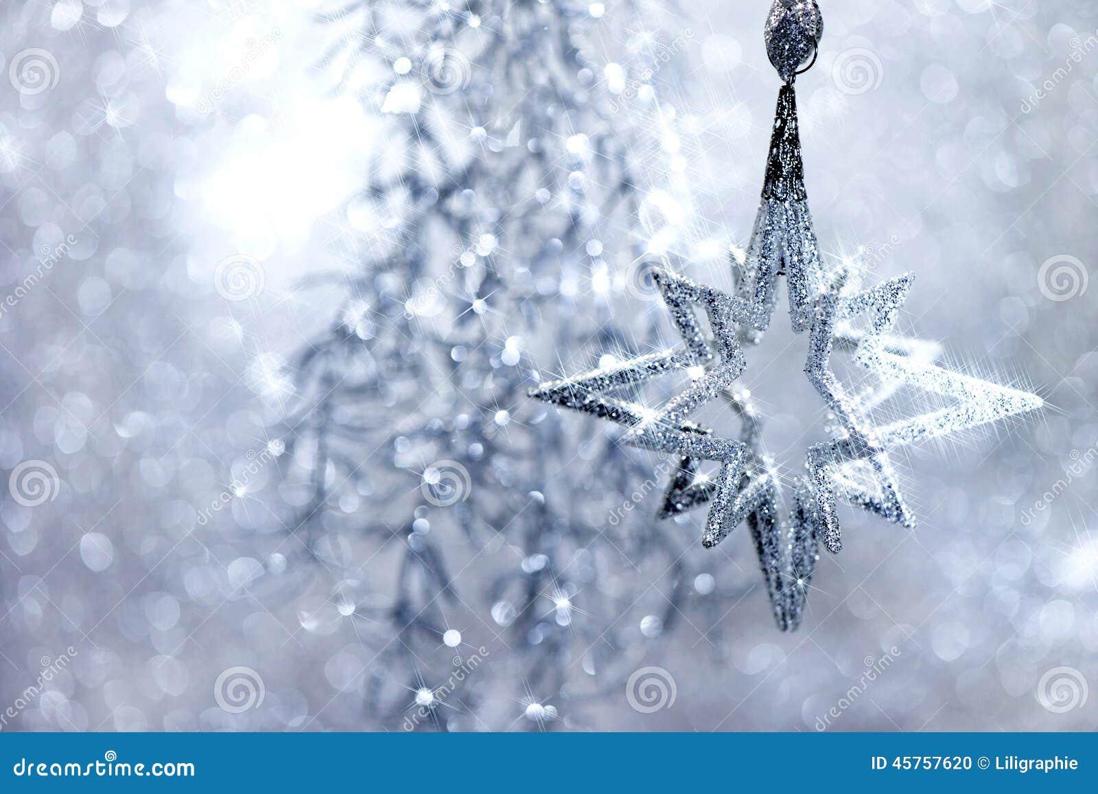 Weihnachten-Decoraions-Silber-Stern Mit Magischen Lichtern Stockfoto ...