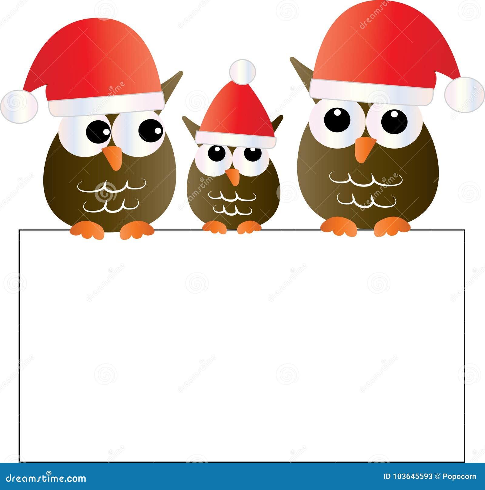 Weihnachten Eine Süße Steinkauzfamilie, Die Ein Zeichen Hält Stock ...
