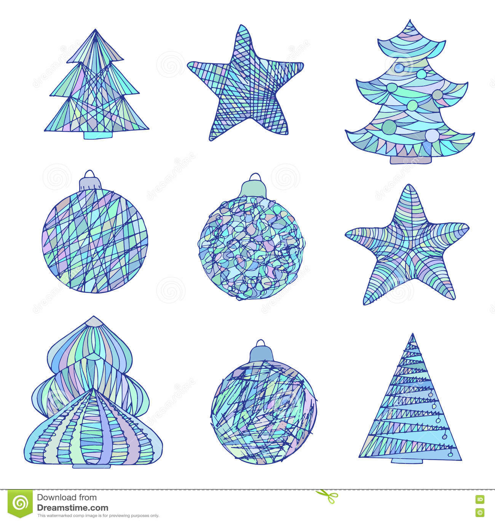 Weihnachten Eingestellt Mit Bäumen Und Bällen Skizze Vektor ...
