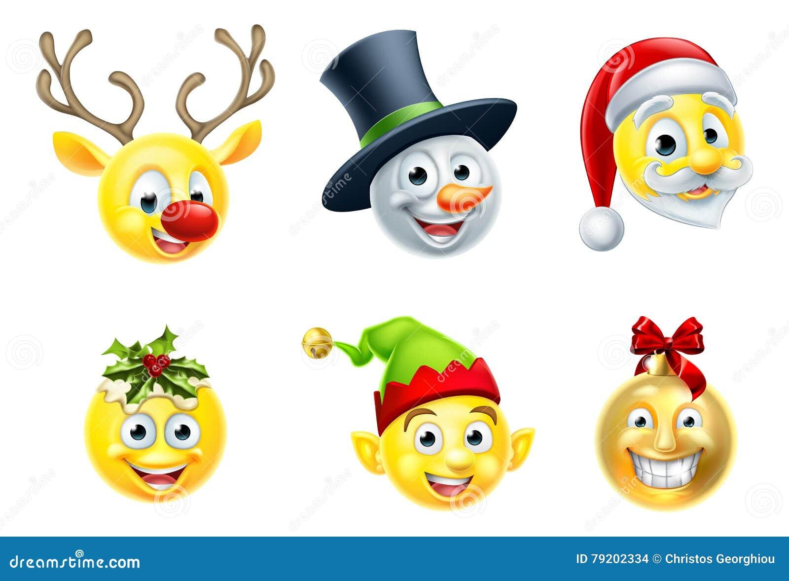 Weihnachten-Emoji-Satz vektor abbildung. Illustration von zeichen ...