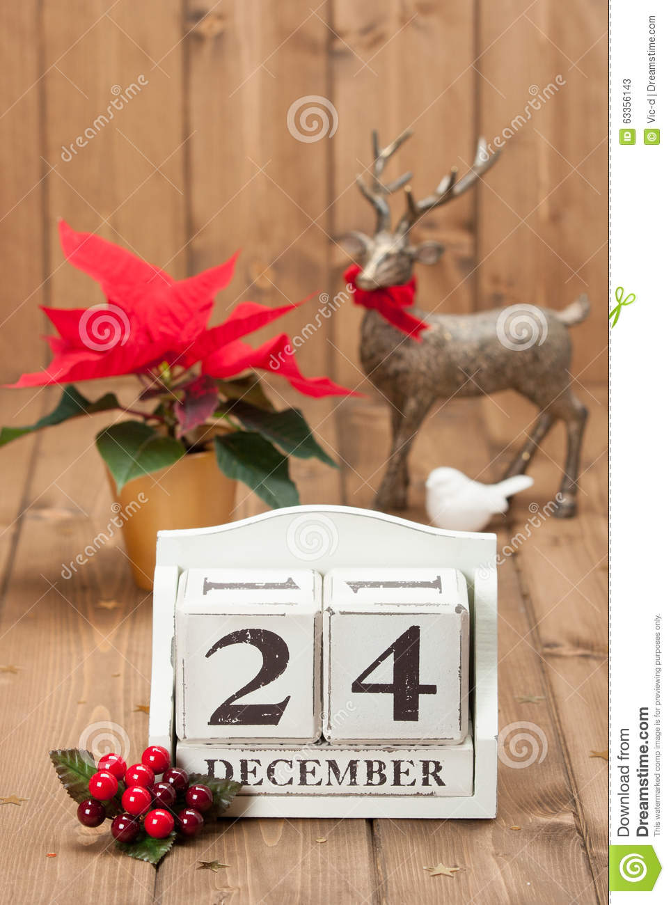 weihnachten eve date on calendar 24 dezember stockfoto. Black Bedroom Furniture Sets. Home Design Ideas
