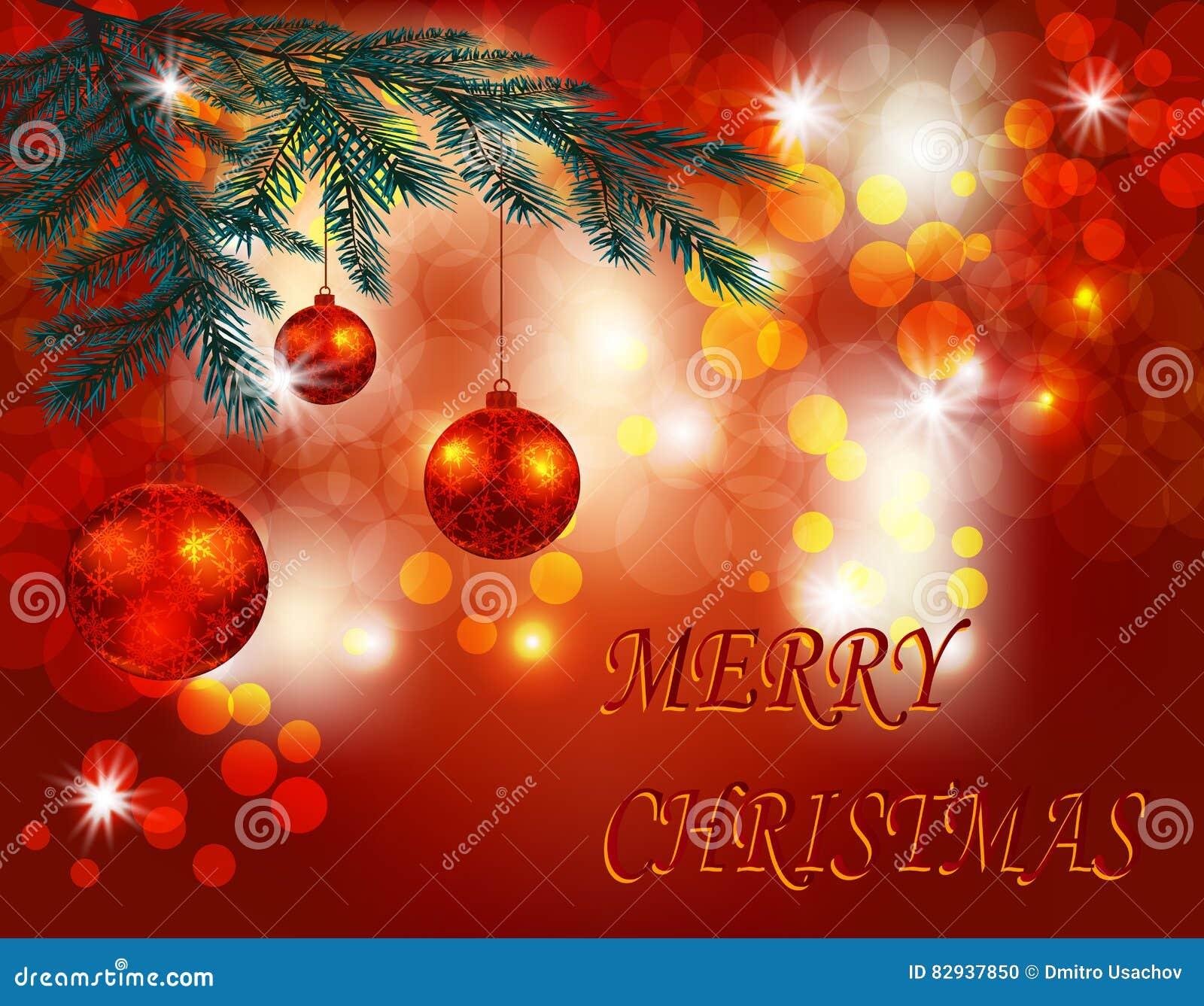 Weihnachten Grüße Bilder.Weihnachten Gruß Des Neuen Jahres Drei Glänzende Rote Bälle Auf