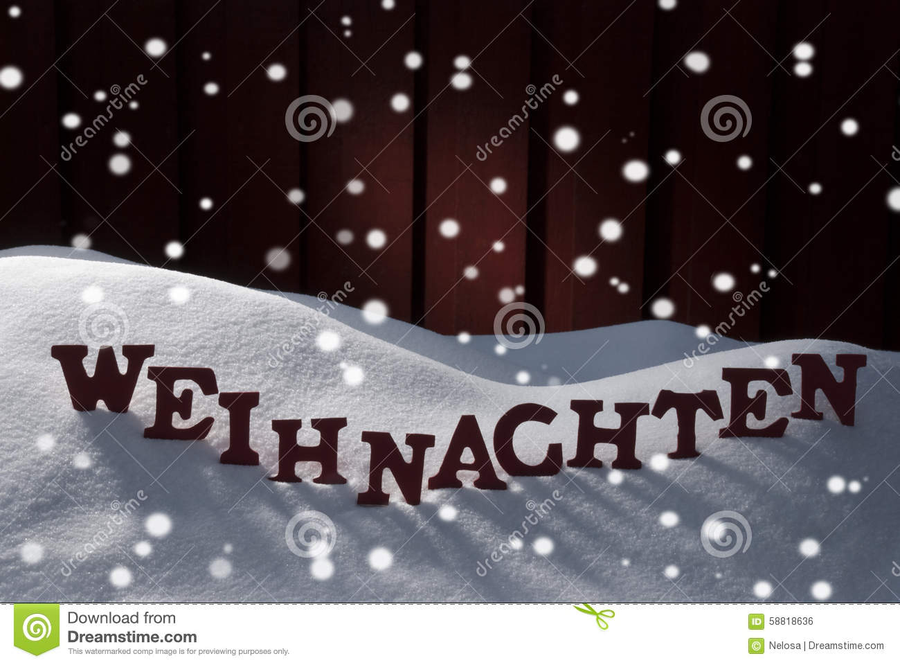 Weihnachten Mean Christmas On Snow With Snowflakes Stock Photo ...