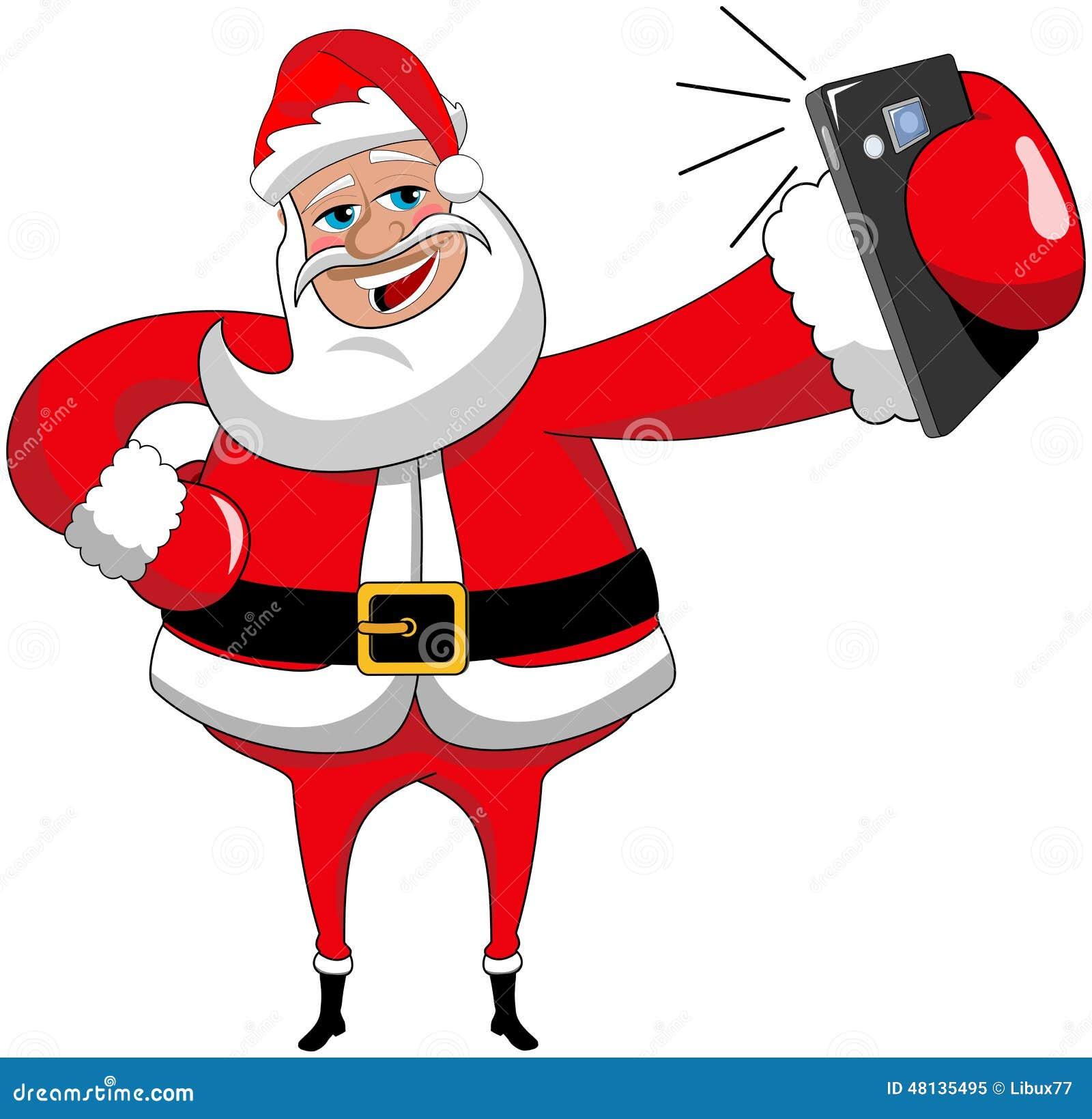 Weihnachten Santa Claus Selfie Isolated Smartphone Vektor Abbildung ...