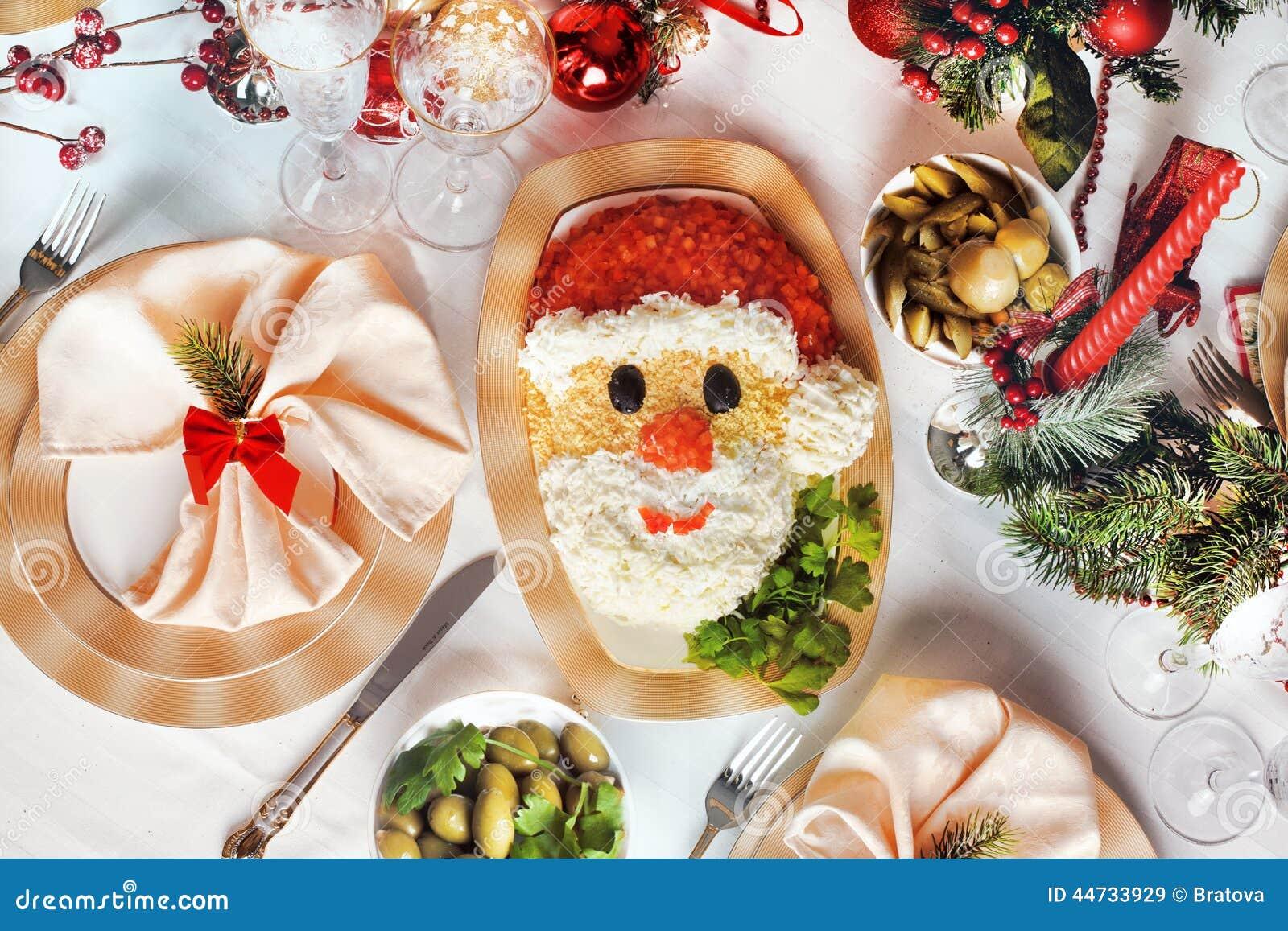Weihnachten Santa Claus Stellen Salat Gegenüber Stockbild - Bild von ...