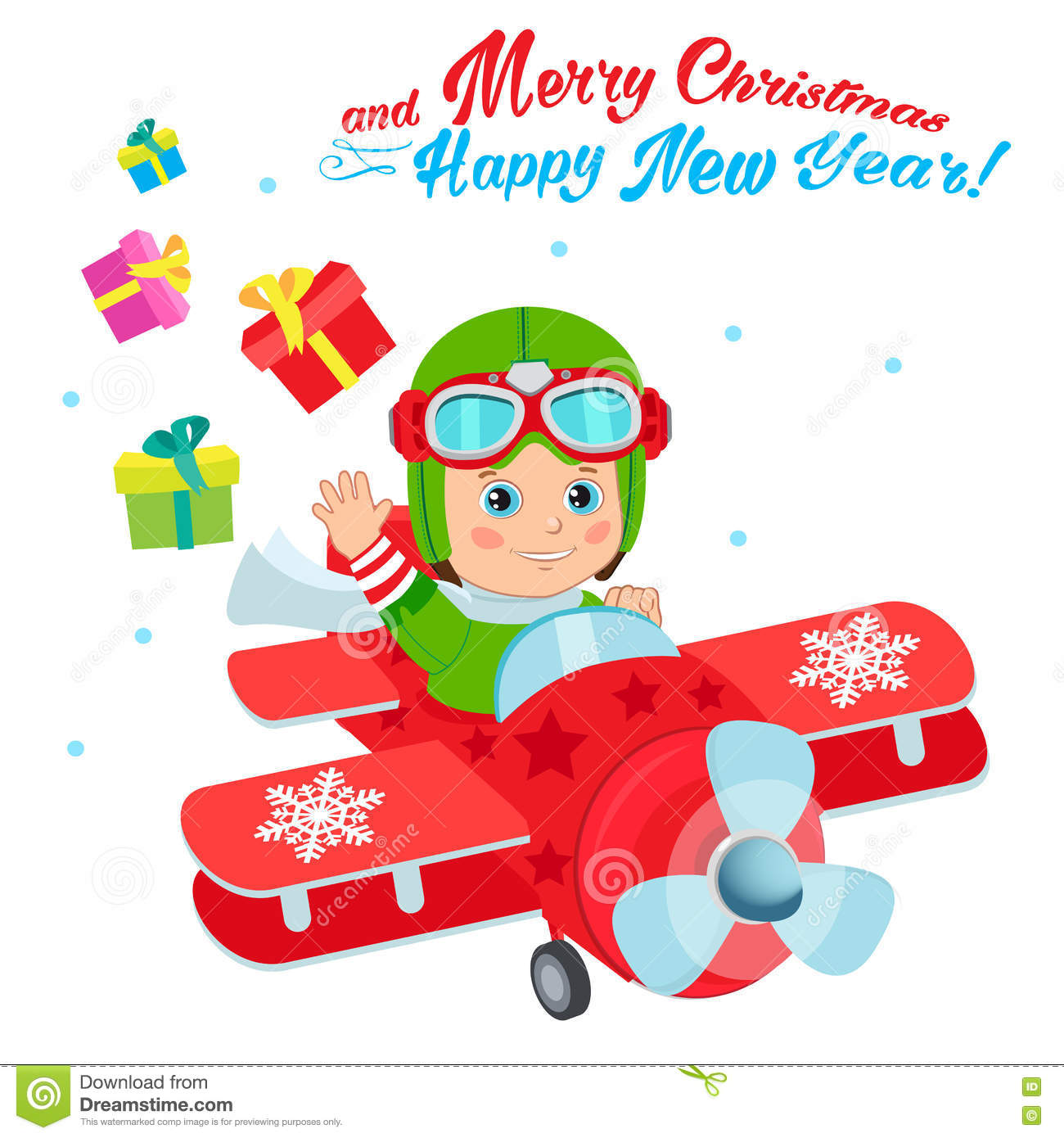 Weihnachten Santa Helper Boy Cartoon Character Netter Jungen-Pilot ...